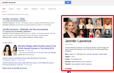 Google knowledge graph semantic search in action.