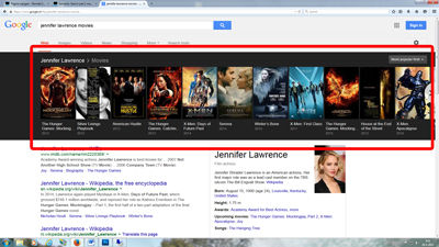 Google semantic search for Jennifer Lawrence movies